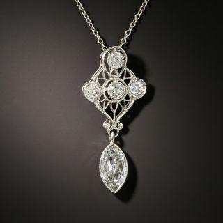 Edwardian Marquise-Cut Diamond Drop Necklace - 2