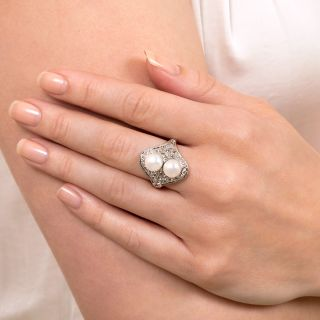 Edwardian Moi et Toi Pearl Ring