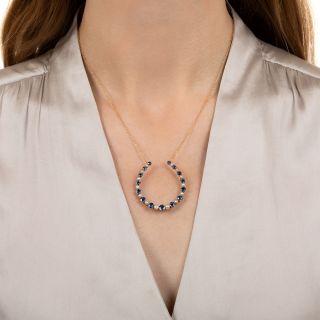 Edwardian Montana Sapphire and Pearl Horseshoe Pendant