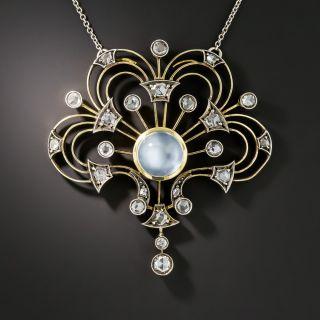 Vintage Moonstone And Rose-Cut Diamond Pendant Necklace - 2