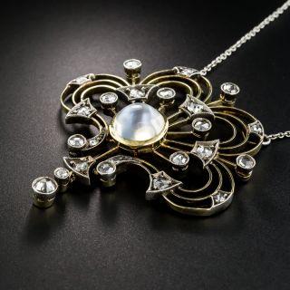 Edwardian Moonstone And Rose-Cut Diamond Pendant Necklace