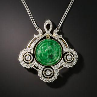 Edwardian Natural Burmese Jade Diamond Pendant Necklace - 1