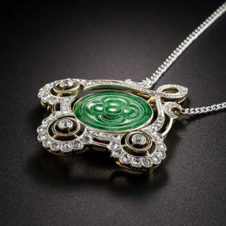 Edwardian Natural Burmese Jade Diamond Pendant Necklace