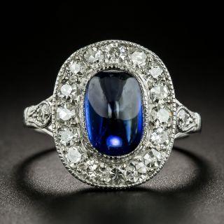 Edwardian Natural No-Heat Cabochon Sapphire and Diamond Halo Ring - 3