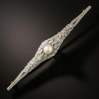 Edwardian Natural Pearl and Diamond Bar Pin - 3