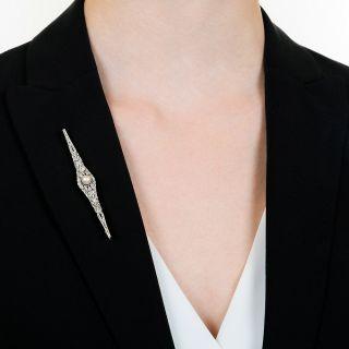 Edwardian Natural Pearl and Diamond Bar Pin