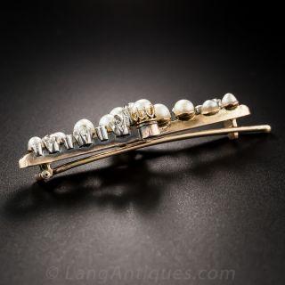 Edwardian Natural Pearl and Diamond  Barrette