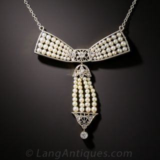 Edwardian Natural Pearl and Diamond Bow Necklace - 1