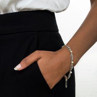 Edwardian Natural Pearl and Diamond Bracelet