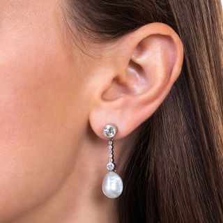 Edwardian Natural Pearl and Diamond Earrings
