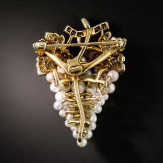 Edwardian Natural Pearl and Diamond Grape Cluster Brooch