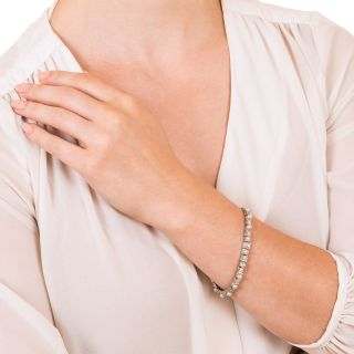 Edwardian Natural Pearl and Diamond Line Bracelet
