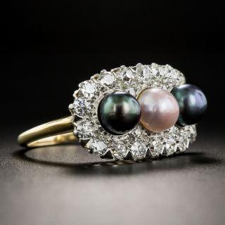 Edwardian Natural Pearl and Diamond Ring