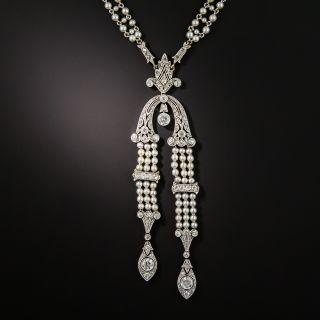 Edwardian Natural Pearl Diamond Platinum Sautoir Necklace - 1