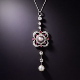 Edwardian Natural Pearl, Ruby and Diamond Lavalière  - 1