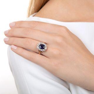 Edwardian No-Heat  2.30 Carat Sapphire and Diamond Halo Ring