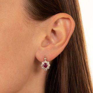 Edwardian No-Heat Burma Ruby and Diamond Cluster Earrings