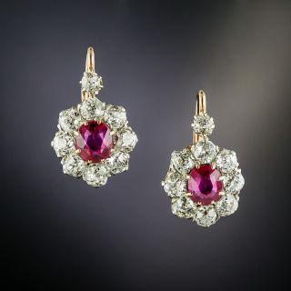 Edwardian No-Heat Burma Ruby and Diamond Cluster Earrings - 2
