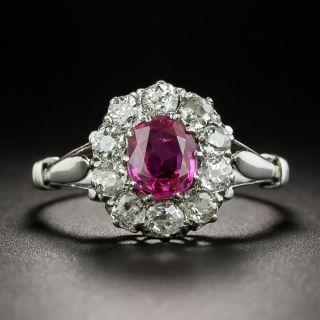 Edwardian No-Heat Burmese 1.00 Carat Ruby and Diamond Ring - GIA - 2