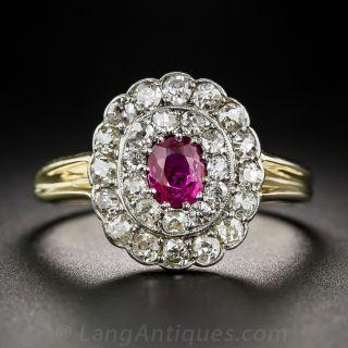 Edwardian No-Heat Deep Pink Sapphire and Diamond Ring - 1