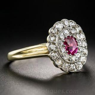 Edwardian No-Heat Deep Pink Sapphire and Diamond Ring