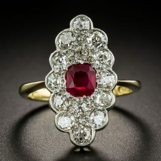 Edwardian No-Heat Ruby and Diamond Dinner Ring - 2