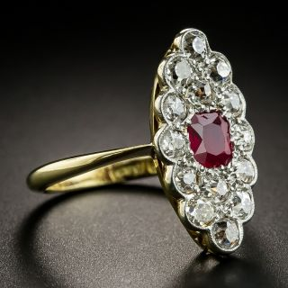 Edwardian No-Heat Ruby and Diamond Dinner Ring