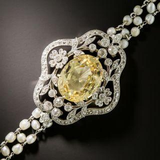 Edwardian No-Heat Yellow Sapphire and Pearl Bracelet - 5