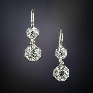 Edwardian Octagonal Double Diamond Dangle Earrings - 2