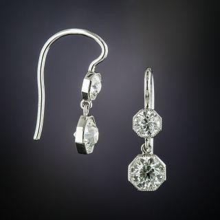Edwardian Octagonal Double Diamond Dangle Earrings