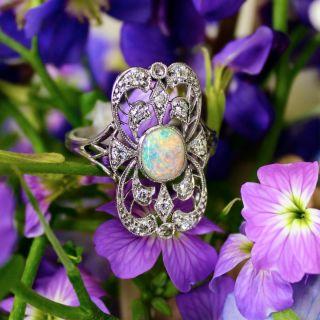 Edwardian Opal and Diamond Dinner Ring