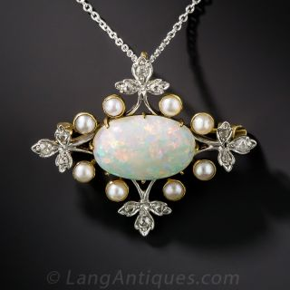 Edwardian Opal, Pearl, and Diamond Necklace/ Brooch - 1