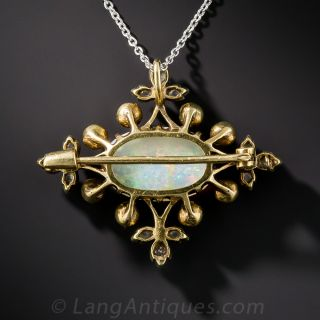 Edwardian Opal, Pearl, and Diamond Necklace/ Brooch