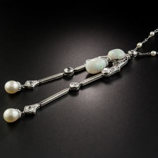 Edwardian Opal, Pearl and Diamond Negligee Necklace