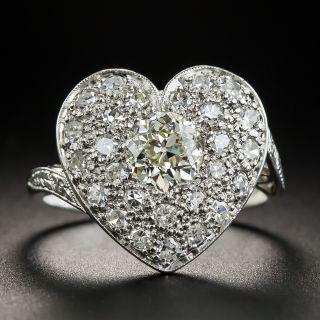 Edwardian Pavé Diamond Heart Ring