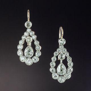 Edwardian Pear Shape Diamond Earrings - 1