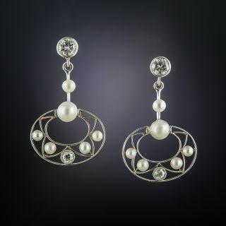 Edwardian Pearl and Diamond Earrings - 2