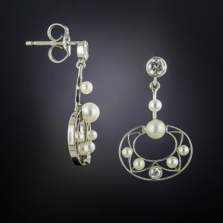 Edwardian Pearl and Diamond Earrings