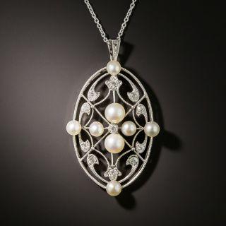 Edwardian Pearl and Diamond Openwork Pendant - 1