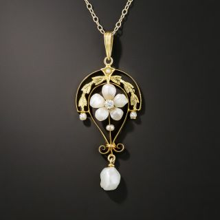 Edwardian Pearl and Diamond Pendant Necklace