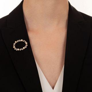 Edwardian Pearl and Diamond Wreath Pin