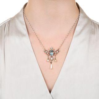 Edwardian Pearl, Aquamarine and Diamond Lavaliere Necklace