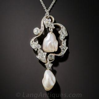Edwardian Pearl, Diamond and Platinum Pendant Necklace