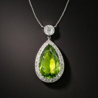 Edwardian Platinum Diamond Peridot Pendant Necklace - 1