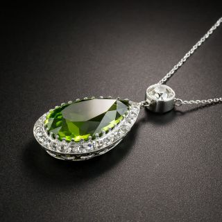Edwardian Peridot and Diamond Platinum Pendant Necklace