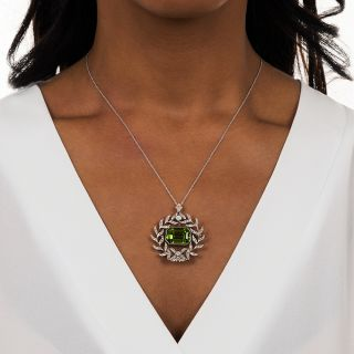 Edwardian Peridot and Diamond Wreath Necklace/Brooch