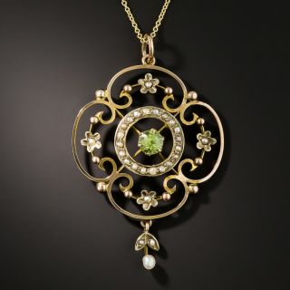 Art Nouveau Yellow Gold Green Peridot and Pearl Necklace - 2