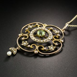 Edwardian Peridot and Pearl Necklace