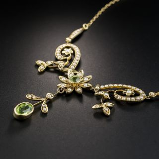Edwardian Peridot and Seed Pearl Necklace