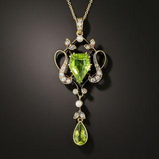 Edwardian Peridot, Diamond and Pearl Necklace - 2